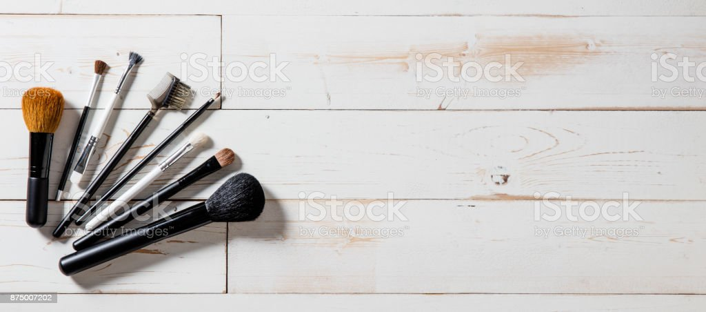 Long banner for professional makeup and fashion accessories with brushes stock photo