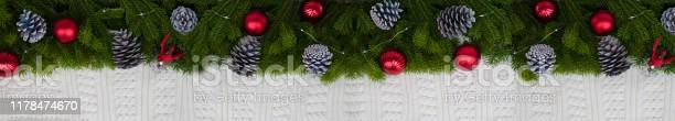 Long banner of fir branches with decorative pine cones and red balls picture id1178474670?b=1&k=6&m=1178474670&s=612x612&h=3bknwb6l6l fzszkbte 3vnjjko1yyf6mmmln3ozkgk=