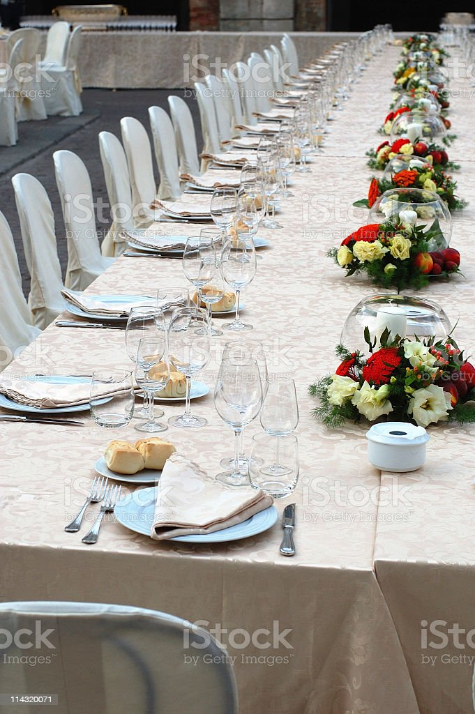Long Banquet Table royalty-free stock photo