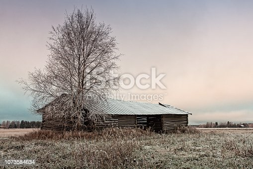 A two-part barn house with a broken roof stands on the frosty fields of the rural Finland. The cold morning is turning into a cloudy day.