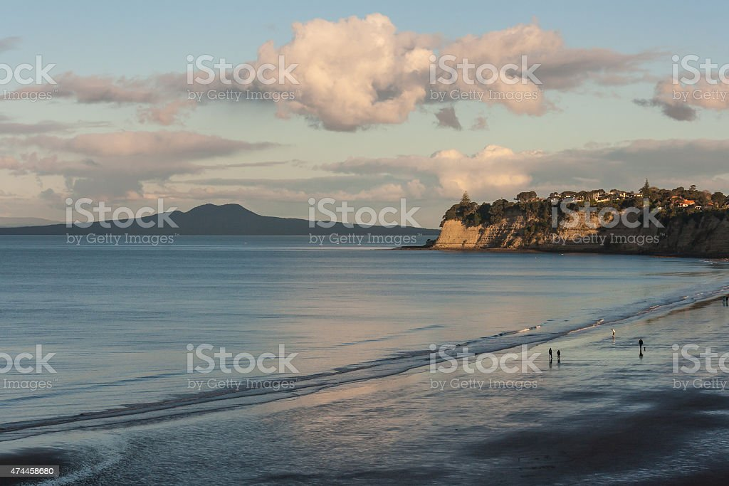 Long Bay and Rangitoto Island stock photo