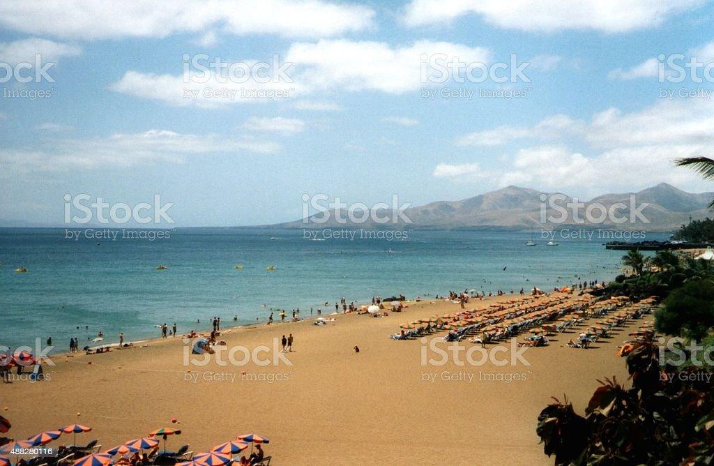 Long beach at Puerto Del Carmen, Lanzarote stock photo