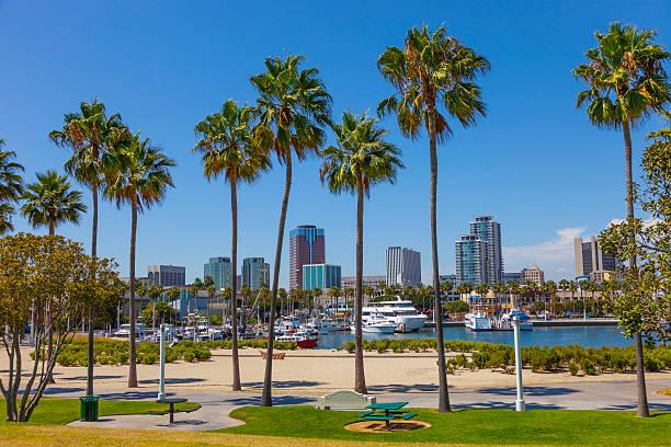 Long Beach, CA Rainbow Harbor with city skyline at Long Beach , CA long beach california stock pictures, royalty-free photos & images