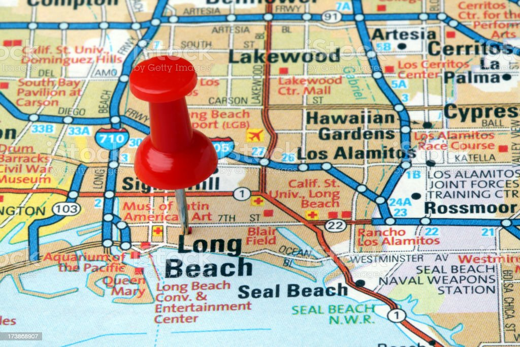 Long Beach California On A Map Stock Photo - Download Image ...