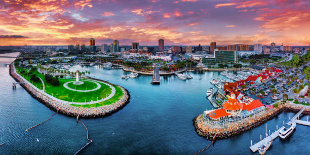 Long Beach City Panorama Los Angeles Long Beach City Panorama Los Angeles California long beach california stock pictures, royalty-free photos & images