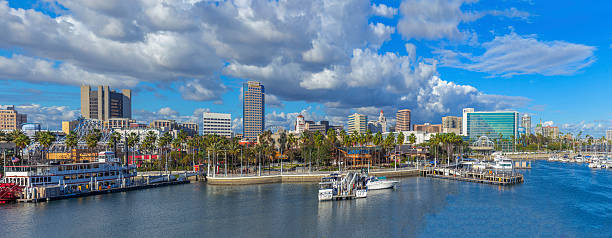 Long Beach downtown and Queensway Bay Panorama Long Beach downtown skyline Panorama with multiple stitch. long beach california stock pictures, royalty-free photos & images