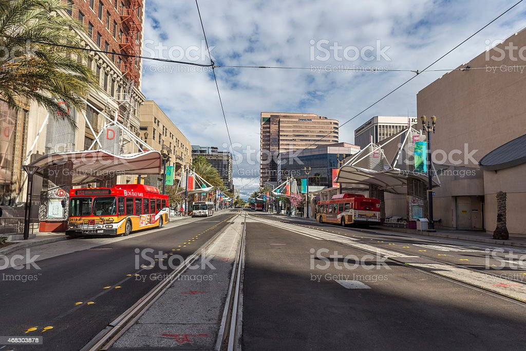 Long beach downtown street view stock photo