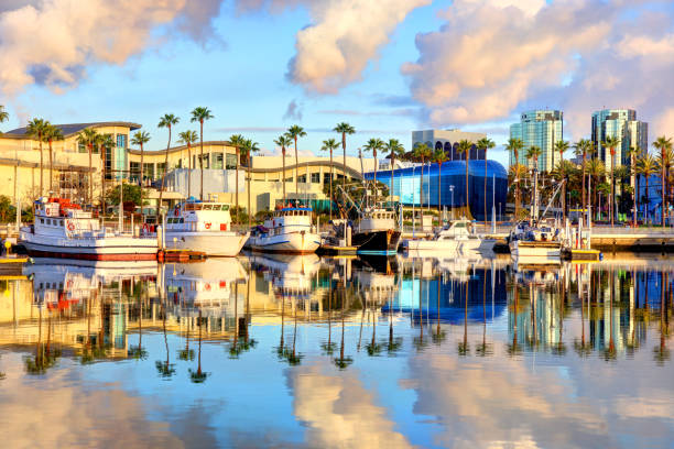 Long Beach Harbor Long Beach is a city on the Pacific Coast of the United States, within the Los Angeles metropolitan area of Southern California. long beach california stock pictures, royalty-free photos & images