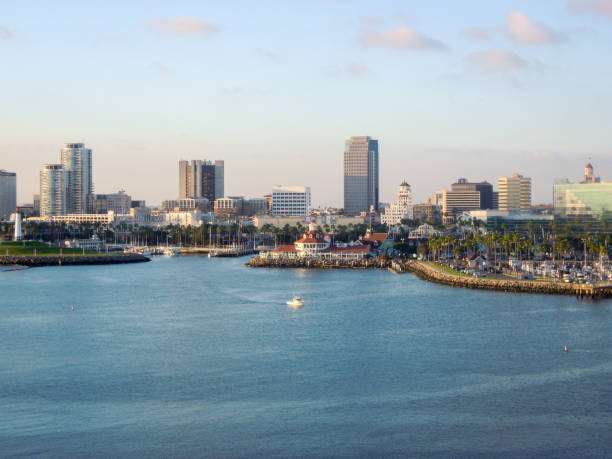 Long Beach Harbor with skyline panoramic,CA - Stock image – Foto