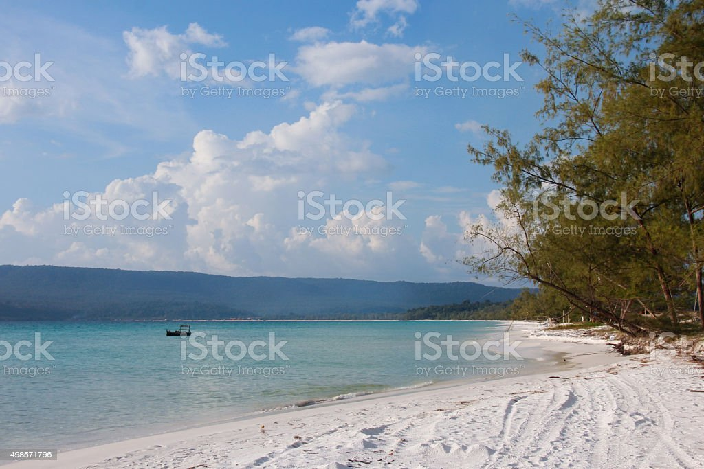 Long Beach, Koh Rong, on a cloudy day stock photo