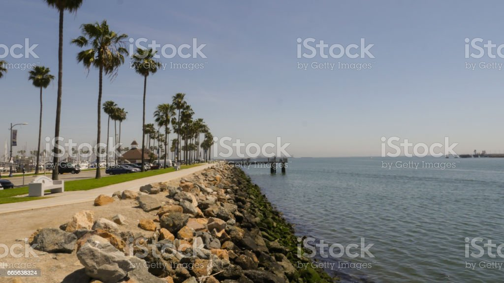 Long Beach Marina/Harbor sidewalk 4k stock photo