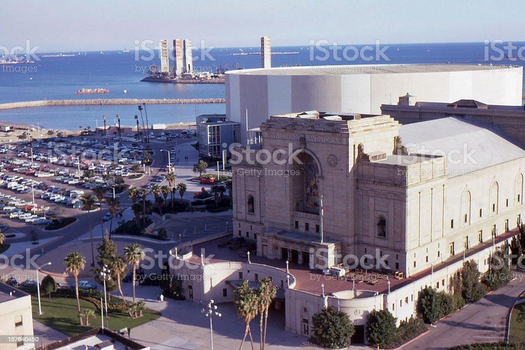 Long Beach Municipal Auditorium 1967, retro stock photo