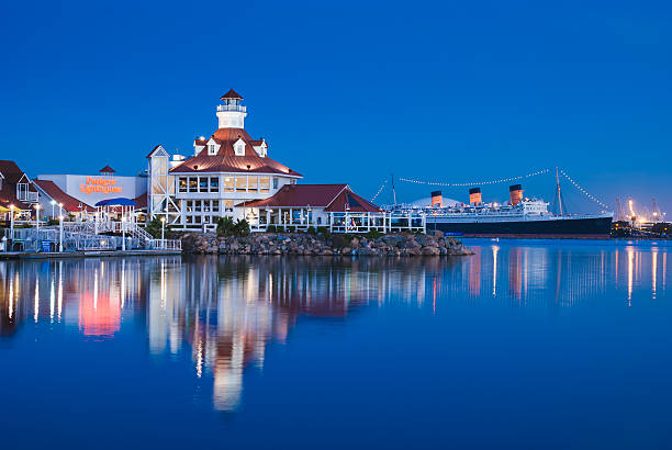 Long beach Nightview Deep blue color of sea and sky. long beach california stock pictures, royalty-free photos & images