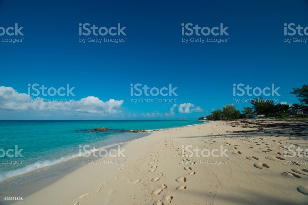 long beach on island of Bimini stock photo
