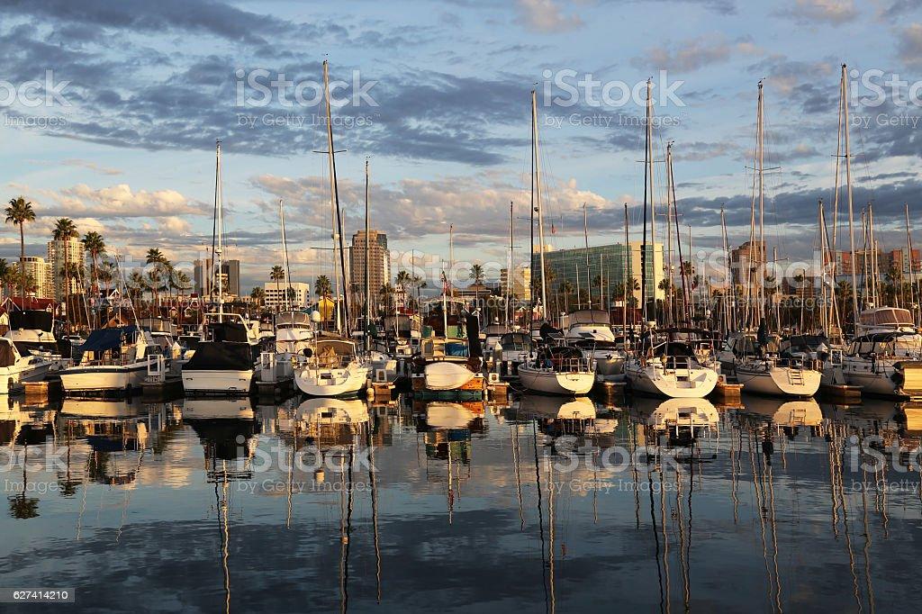 Long Beach Sailboat Marina stock photo