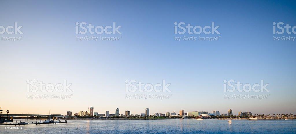 Long beach skyline on Los Angeles county stock photo