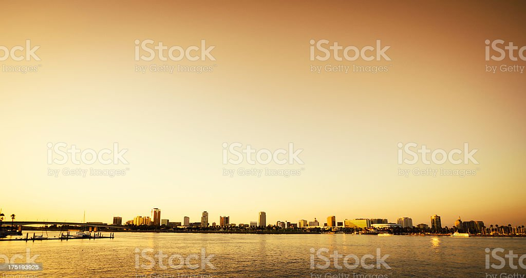 Long beach skyline on Los Angeles county royalty-free stock photo