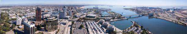 Long Beach Skyline Panoramic aerial view of the Long Beach skyline. long beach california stock pictures, royalty-free photos & images