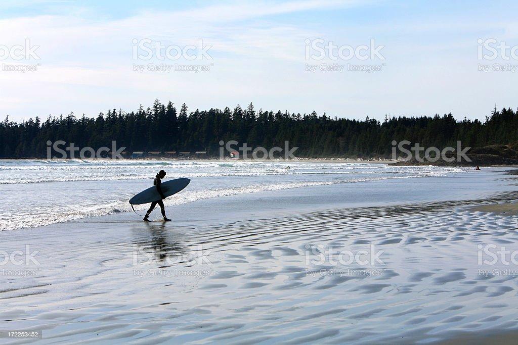 Long Beach Surfer. Vancouver Island stock photo