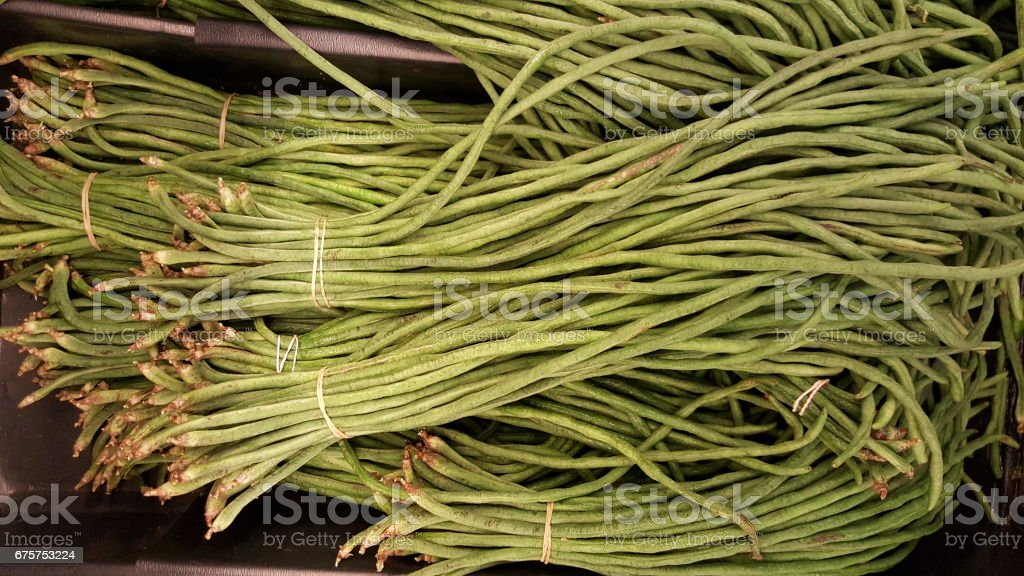 Long beans vegetable on retail display stock photo