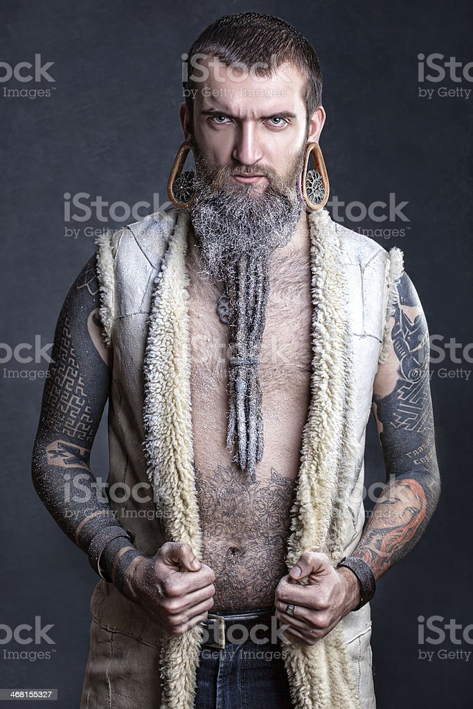 Long beard of a man. stock photo