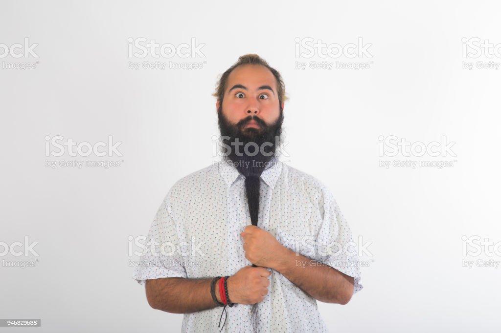 Langer Bart Stil Mann Binden Form Stockfoto Und Mehr Bilder Von 25