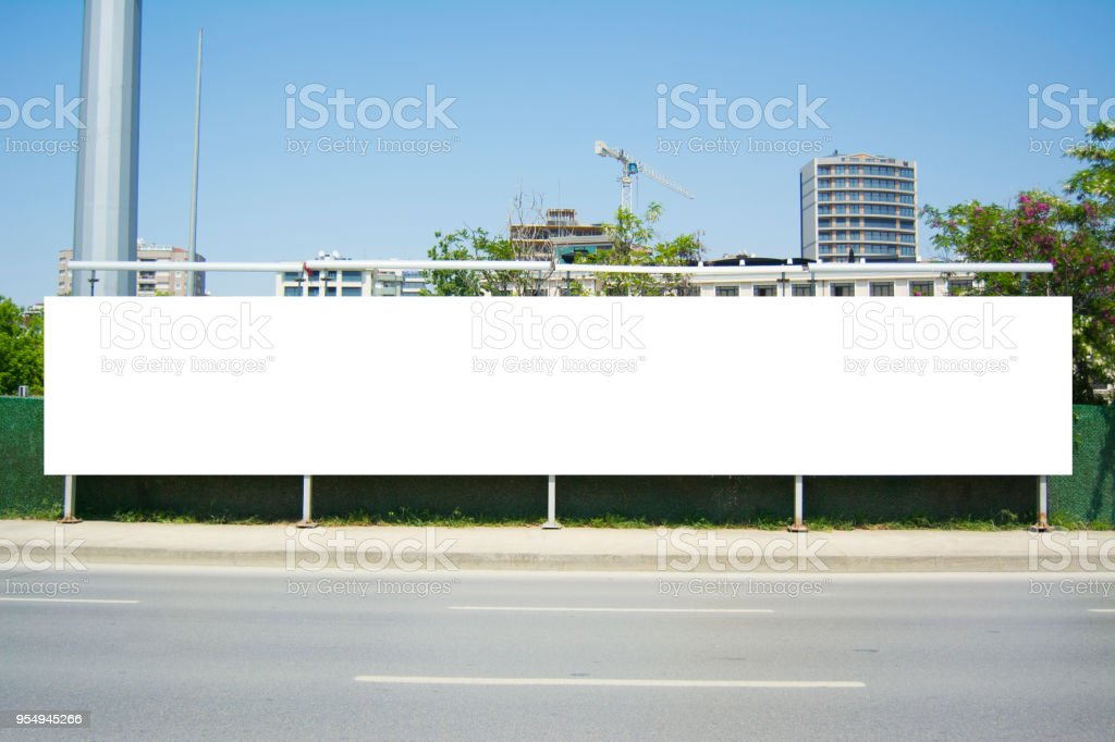 Long Billboard Blank Frame mockup stock photo