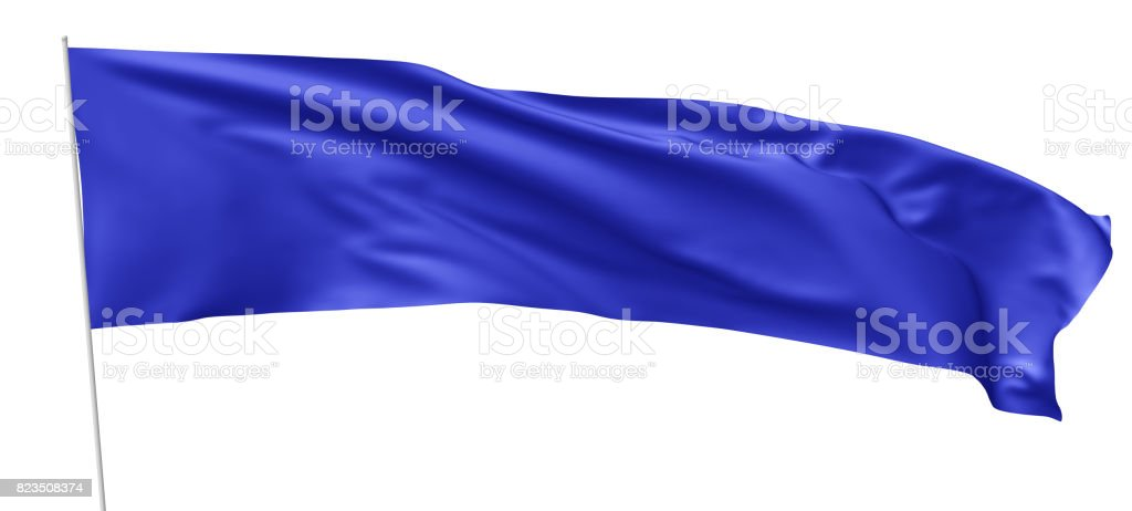 Long blue flag with flagpole waving in wind stock photo