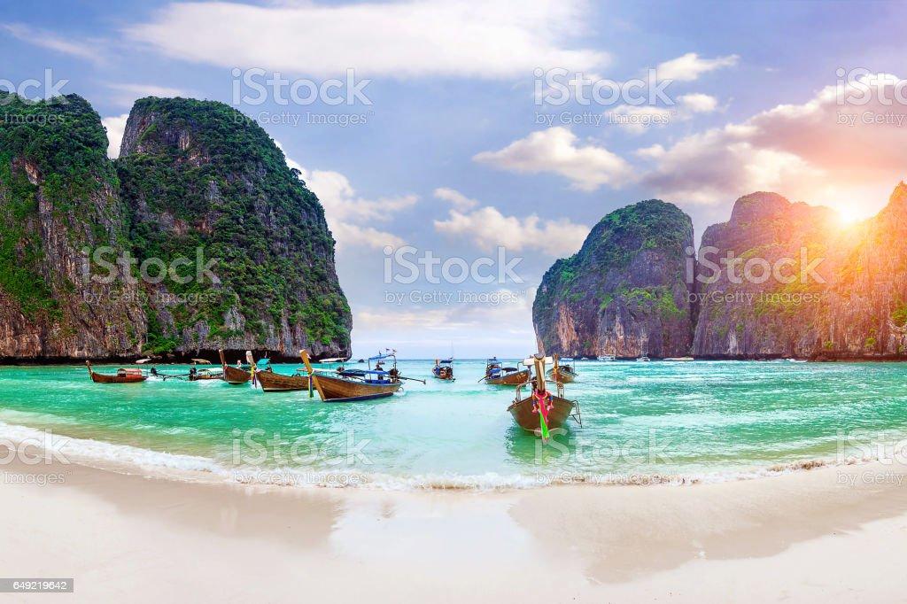 Long boat and blue water at Maya bay in Phi Phi Island. stock photo