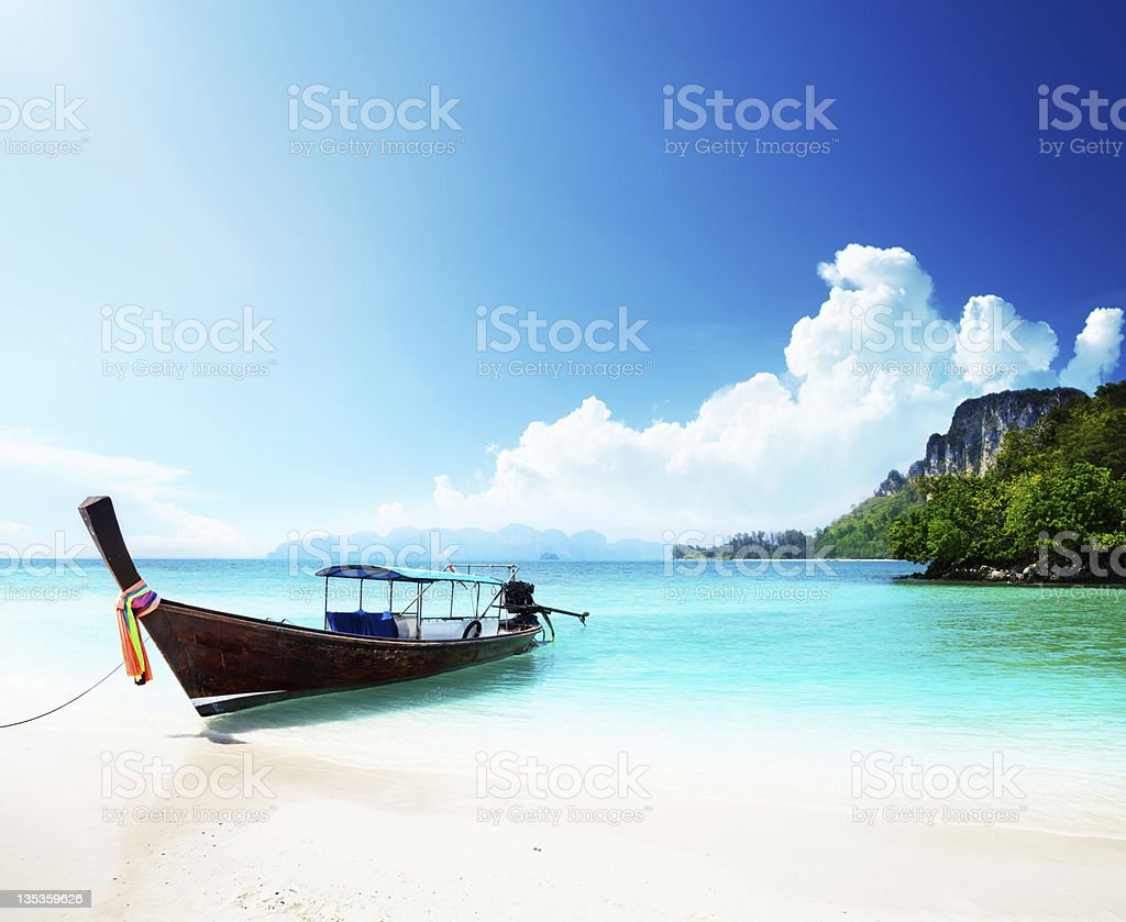 long boat and poda island in Thailand royalty-free stock photo