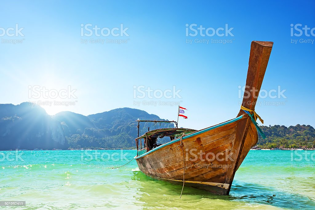 Long boat and tropical beach, Thailand stock photo