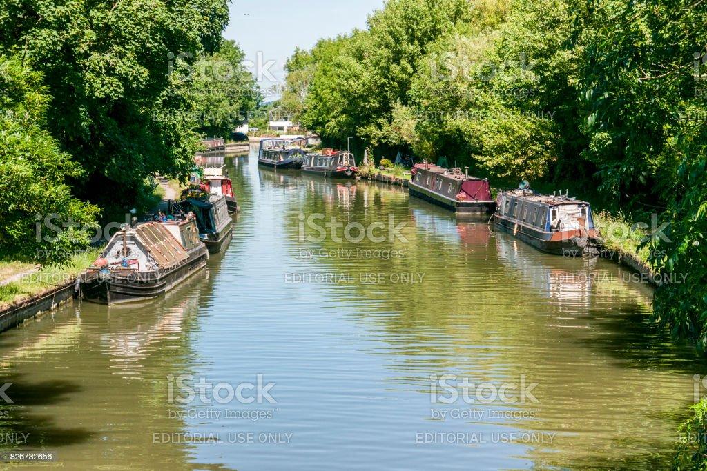 Long Boats at Marsworth canal stock photo