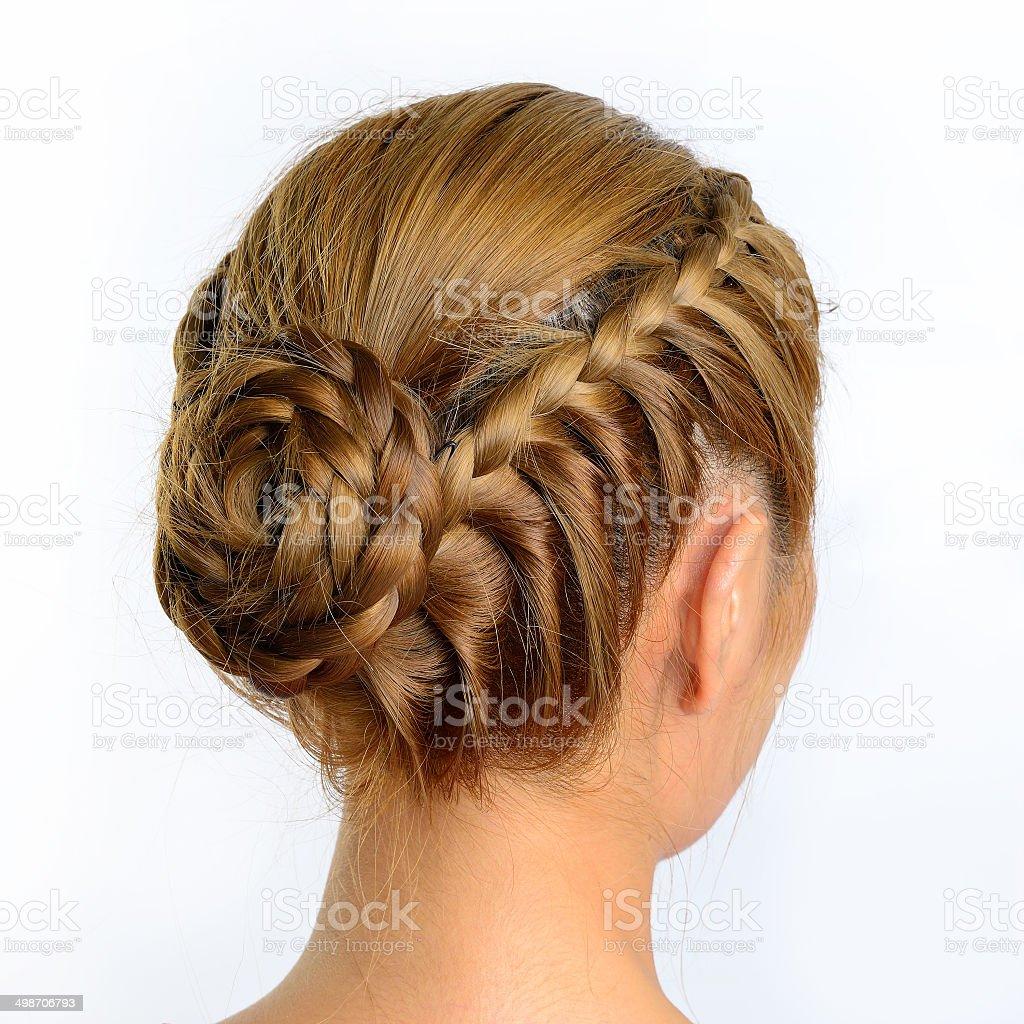 long braid creative hair style stock photo