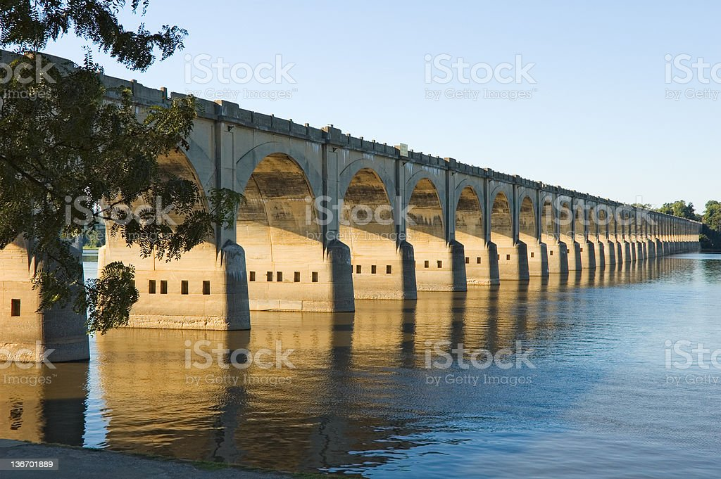 Long Bridge Arches Over River, Harrisburg, PA, USA royalty-free stock photo