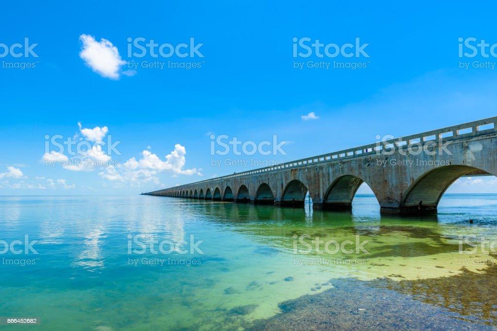 Long Bridge at Florida Key's - Historic Overseas Highway And 7 Mile Bridge to get to Key West, Florida, USA stock photo
