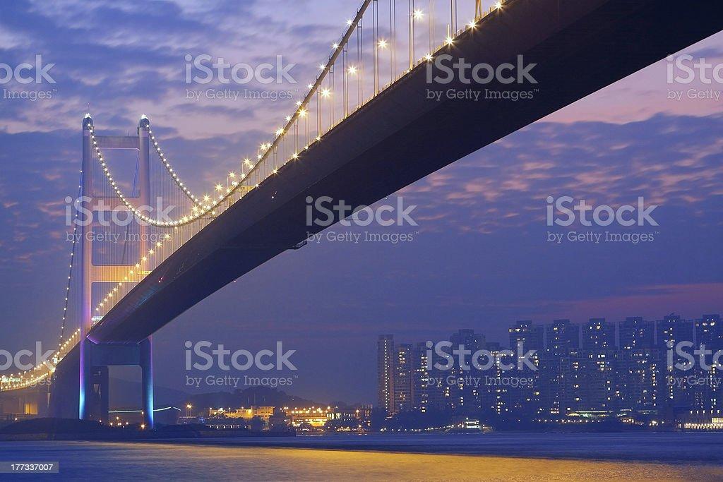 long bridge in sunset hour stock photo