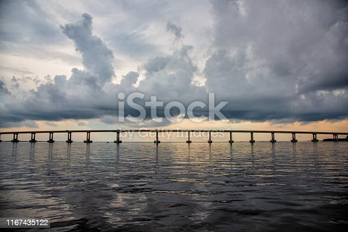A long span of a bridge crossing Lake Pontchartrain in Louisiana near New Orleans with thunder clouds in the background.