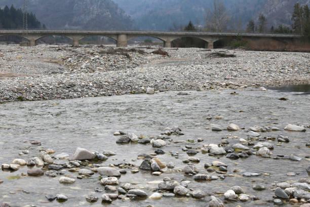 Long bridge on the river stock photo