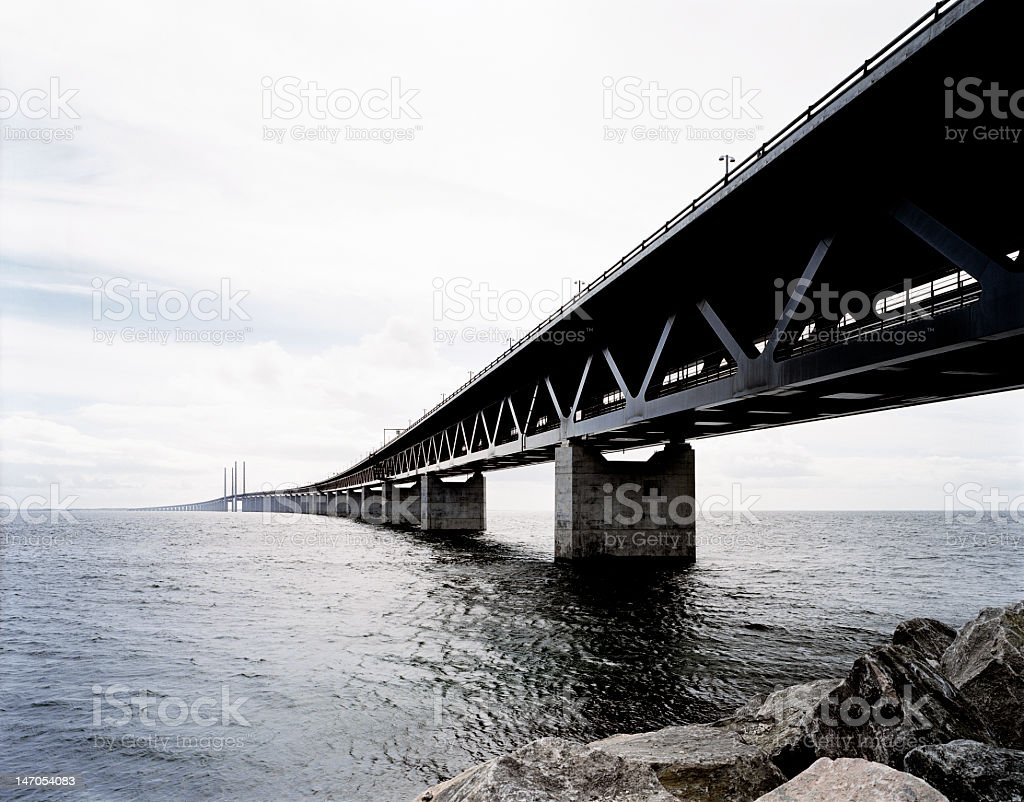 A long bridge over the sea in Sweden stock photo