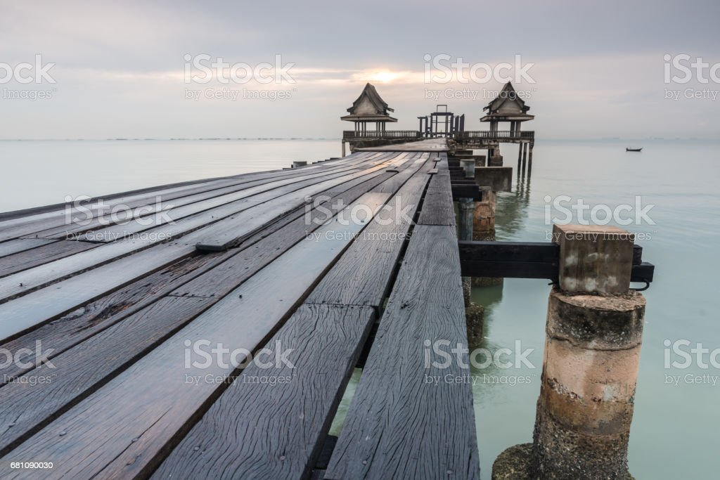 long bridge over the sea royalty-free stock photo