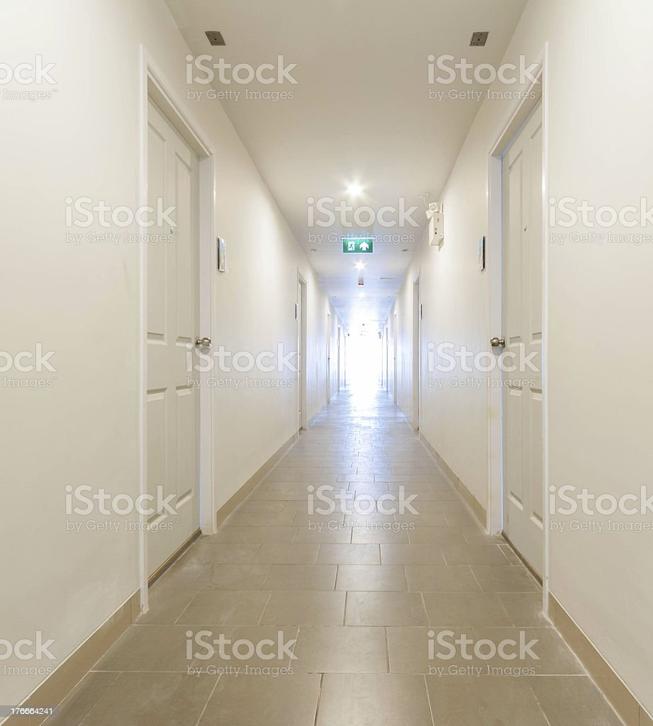 Long corridor building hallway royalty-free stock photo
