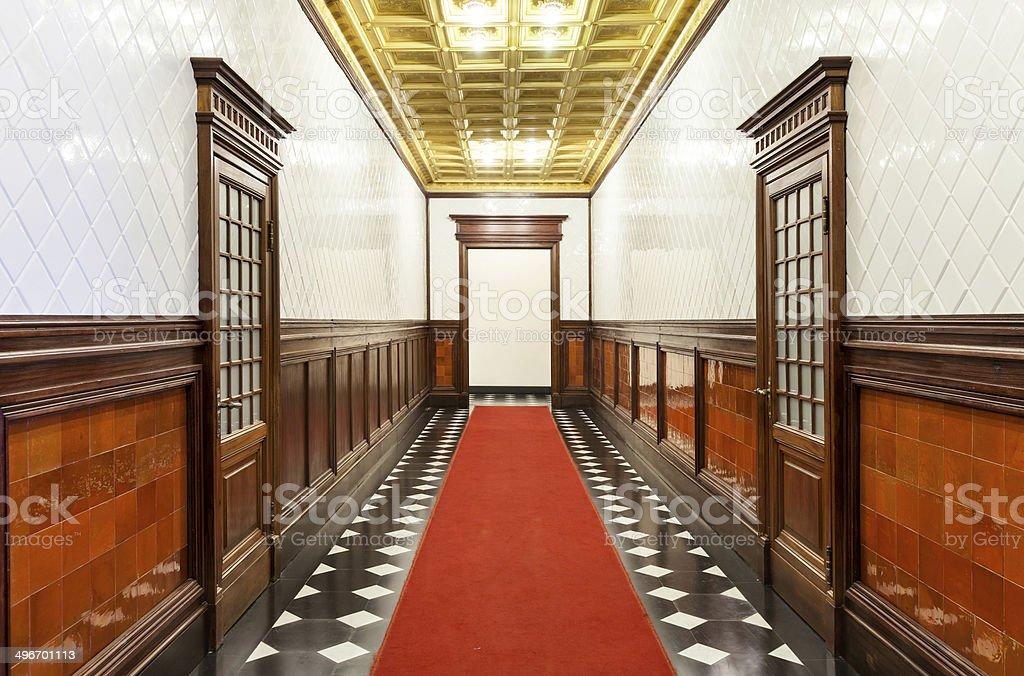 Long corridor of historic building stock photo