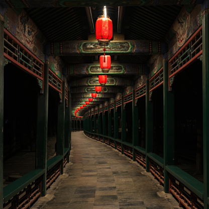 Lanterns on the promenade of the Summer Palace in Beijing, China, with a strong Chinese New Year atmosphere, very beautiful.