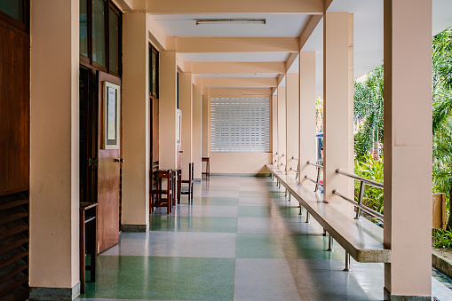 istock Long corridors or passage in a building 812356682