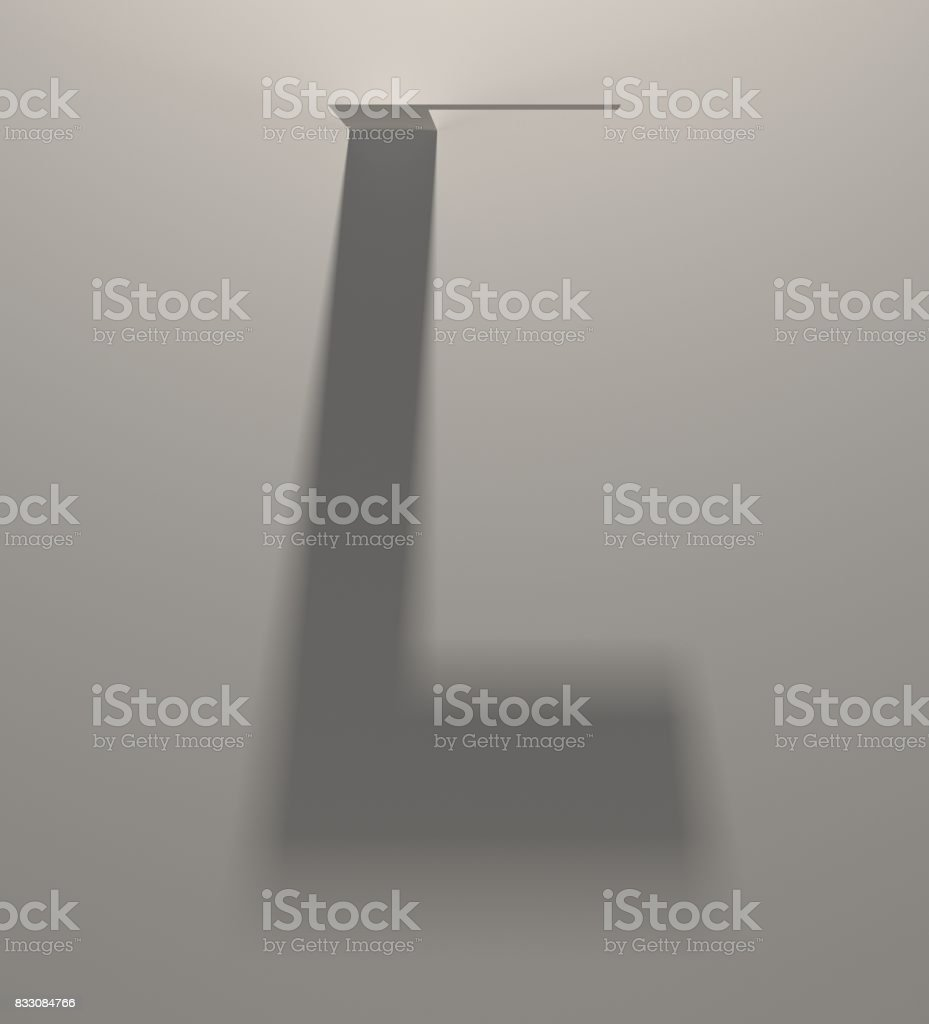 Long Dark Shadow Alphabet. Blurred Silhouette makes Letter L shape stock photo