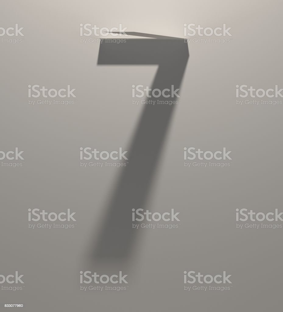 Long Dark Shadow Alphabet. Blurred Silhouette makes Number 7 shape stock photo
