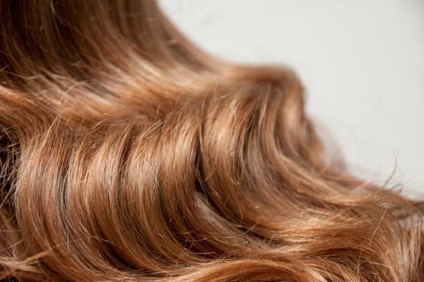 Long dark wavy hair stock photo