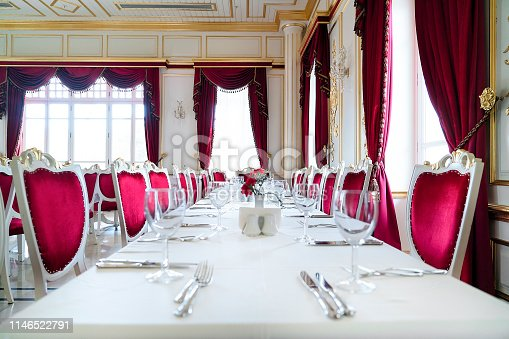 Long dining table in luxury hotel