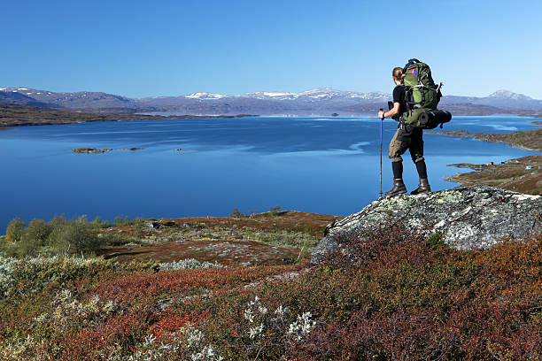 long distance Hiker in Autumn stock photo