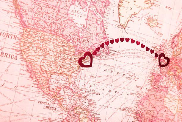 Long Distance Relationship London UK New York USA stock photo